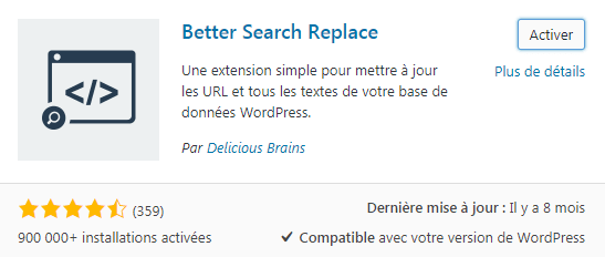 Better search replace pour WordPress