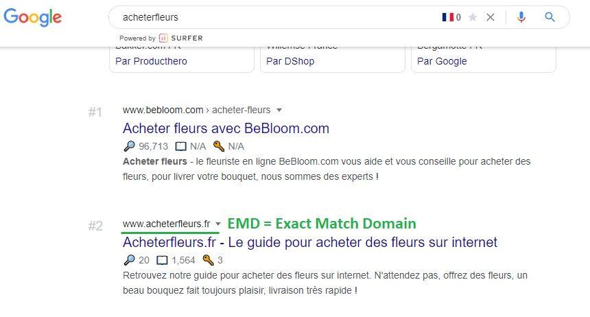 Un EMD bien positionné sur Google