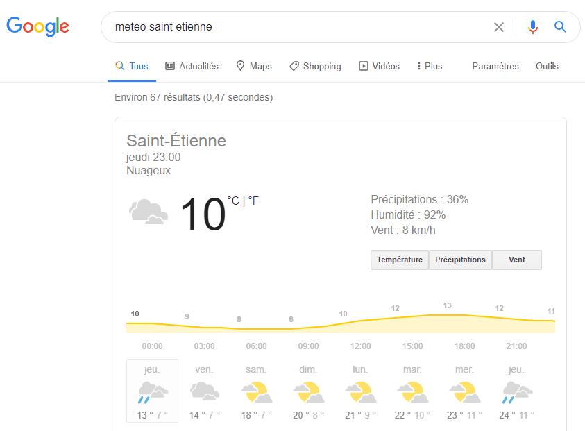 Google Hummingbird (Colibiri) météo