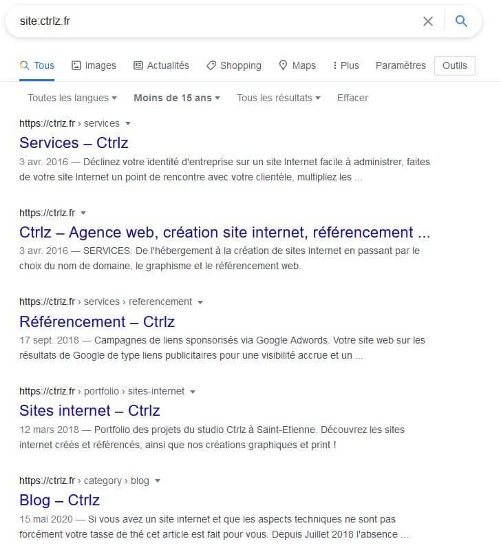Date d'indexation d'un site sur Google